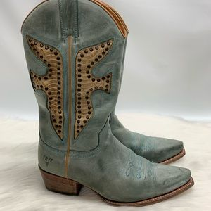 Frye Vintage Cowgirl Boots Snake Embossed Studded
